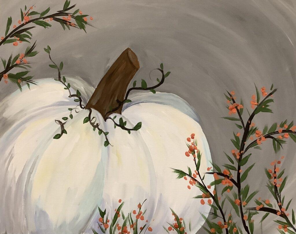11 x 14 White pumpkin with orange berries