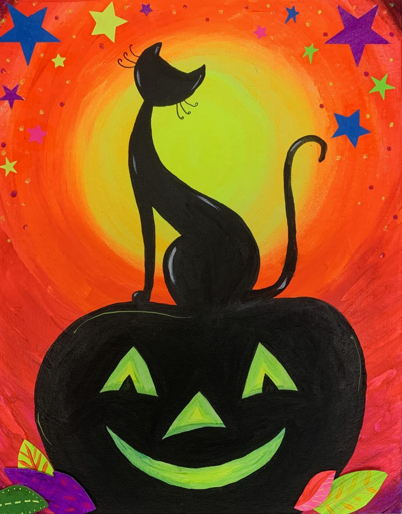 11 x 14 Neon Cat on Pumpkin silhouette