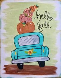 Hello Fall Car with stacked pumpkins
