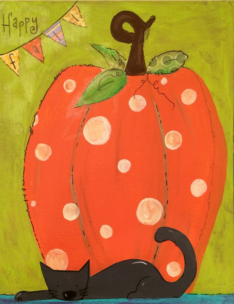11 x 14 Polka dot pumpkin