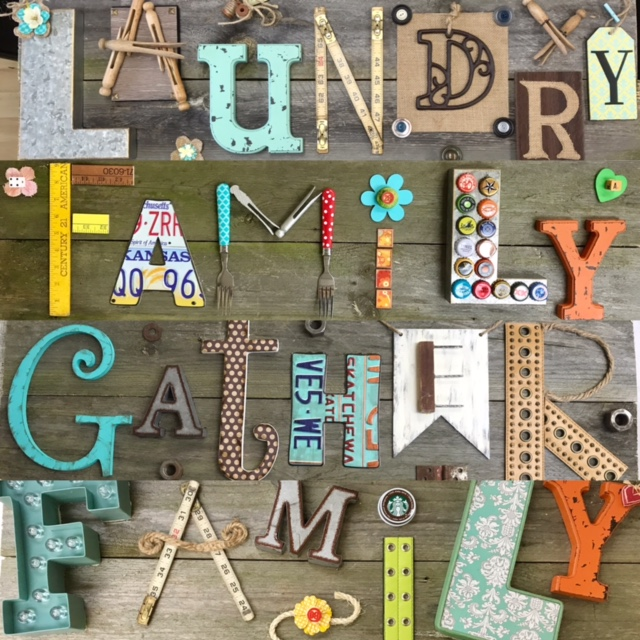 Letter Made Out Of Objects.3 D Letter Wood Sign Feb 16 Maureen Marks Art
